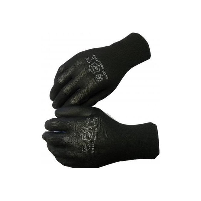 Shield Black PU Coated Seamless Gloves