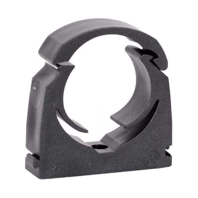 Single Hinged Black Pipe Clip (Pack of 20)