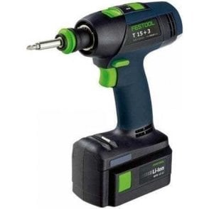 Festool Cordless Drill T15+3 LI (with Charger and 2.6Ah Battery in Carry Case)