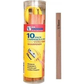 CH Hanson Carpenter Pencils (Tub of 10) with Versa Sharpener