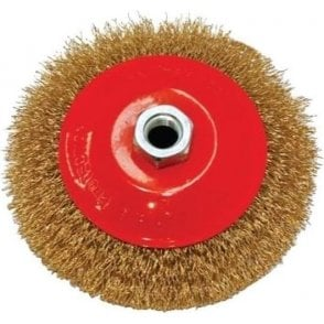 Brass Coated Crimped Steel Conical Brush 90mm
