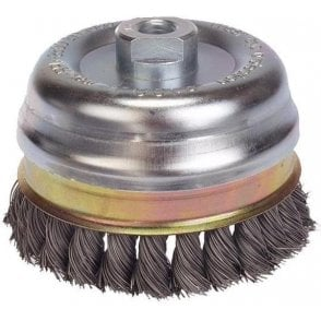 Lessmann Knot Cup Brush D125 x M14 x .50 Stainless Steel