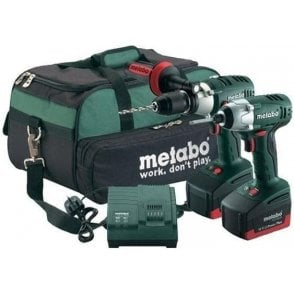 Metabo PowerPlus Twin Pack Cordless Combi Drill+Impact Driver