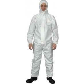 Type 5/6 White Disposable Boilersuit with Hood