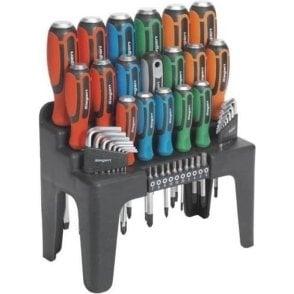 Sealey Hammer-Thru Screwdriver, Hex Key and Bit Set (44 Piece)