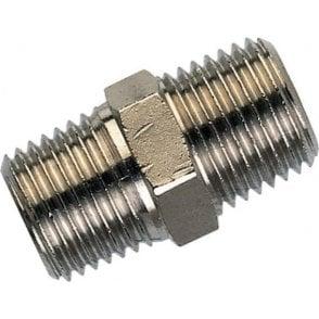 BSPT Male Hex Nip Brass/NP 3/8-Inch x 3/8-Inch